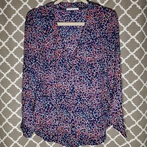Three Eighty Two Colorful Animal Print Top M